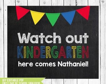 Kindergarten Sign // First day of kindergarten // Kindergarten // Back to school // 1st day of school // PDF you edit with ADOBE READER