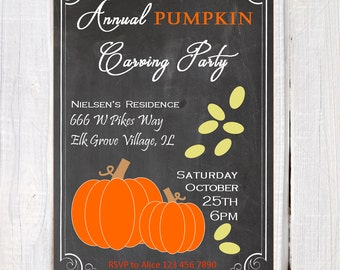Fall invitation, pumpkin carving party,  pumpkins invitation, pumpkin, invitation, fall printable invitation, autumn party invite