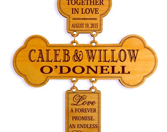 Personalized Wedding Couple Gift, New Weds Decorative Cross, Gift to a Wedding Couple, 1st Anniversary Gift, Custom Wedding Gifts,New Couple