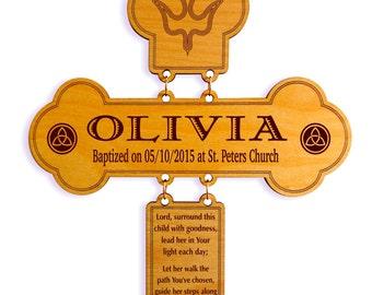Personalized Baptism Cross for a girl ,Custom Baptism Gift, Christening Gift, First Holy Communion Keepsake, Wooden Baptism Gift, Crosses.