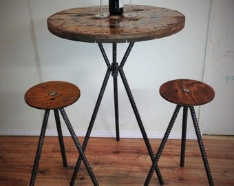 Matching Set Bar Height Adjustable Spool Table With Adjustable Wire Cable  Reel Spool Top Stools Rebar