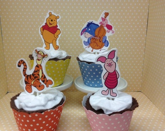 Winnie The Pooh and Friends Party Cupcake Topper Decorations - Set of 10