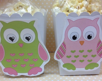 Owl Party Popcorn or Favor Boxes - Set of 10