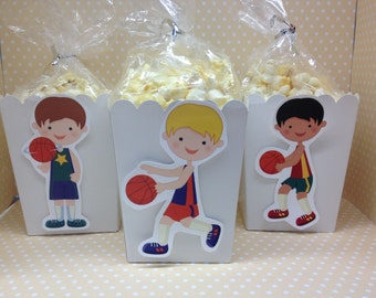 Boys Basketball Party Popcorn or Favor Boxes - Set of 10