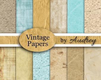 Vintage Paper,  Digital Paper, Old Paper, Paper Pack, Pak,  Instant Download, Scrapbook Papers,Christian,Scrapbooking, Background,Transfers