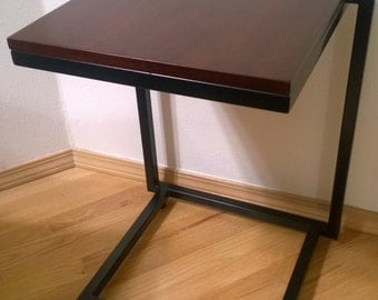 Modern Iron End Table With Wood Top