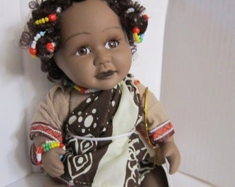 "Vintage Show Stoppers Porcelain Collectible Doll ""Afrika"""