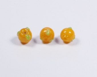 2 - Orange Fruit Lampwork Glass Beads - Summer - Fresh - Food - Citrus - 10mm