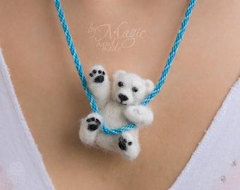 Needle felted polar bear on braided necklace, felt jewelry, winter gift, toy bear, felted creature, cute animal, soft bear