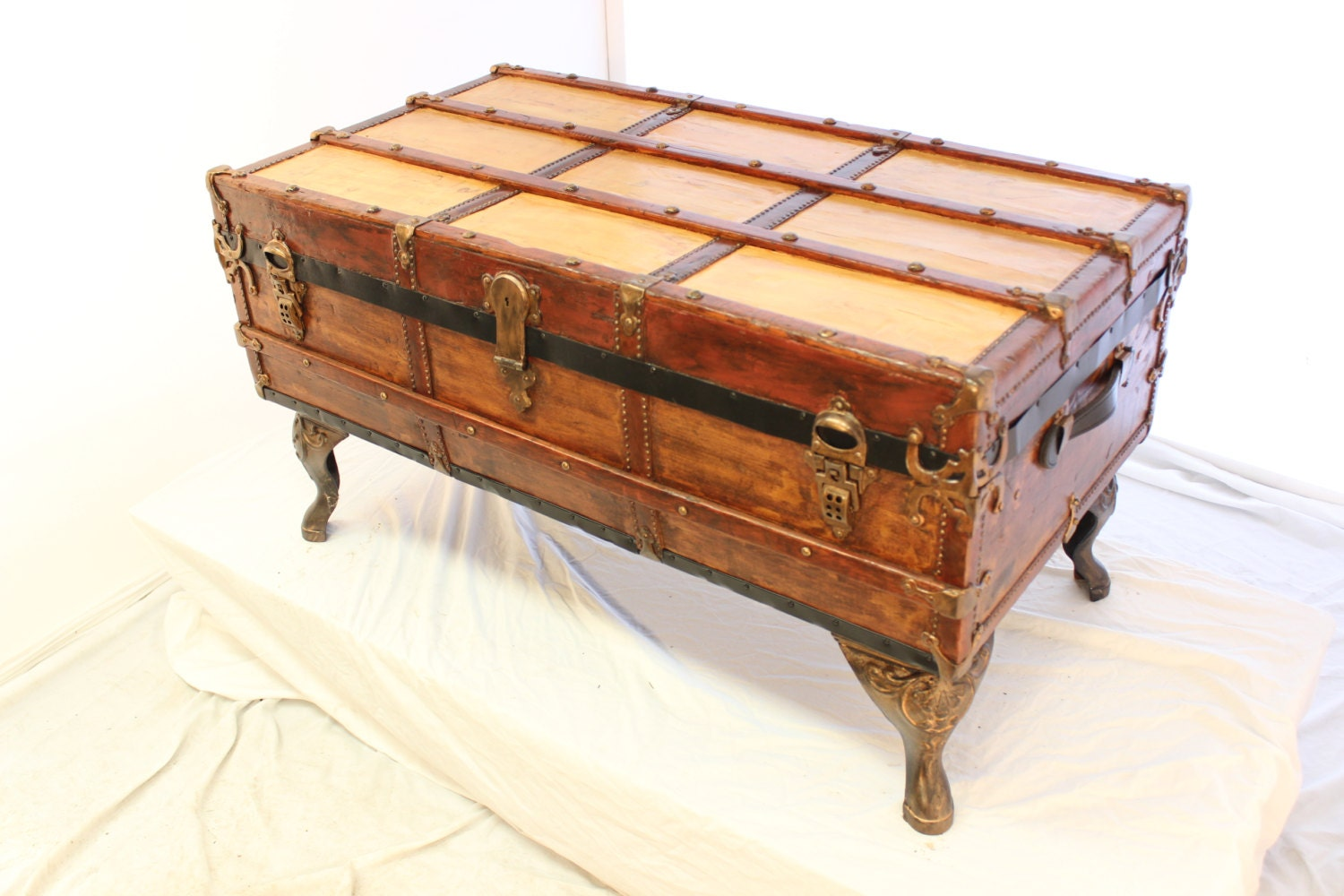 Antique trunk coffee table by telliottworks on etsy Old trunks as coffee tables