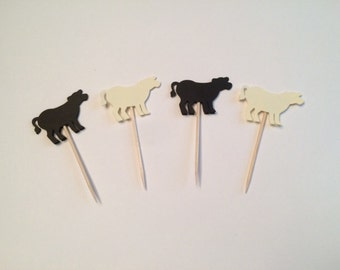 24 farm theme cow toothpicks, farm theme baby shower, birthday party, farm theme party, appetizer picks, food picks, cow cupcake toppers