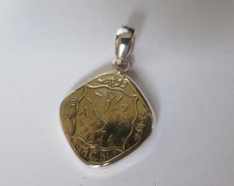 Brass coin pendant, antique indian pendant set in 92.5 sterling silver, free shipping