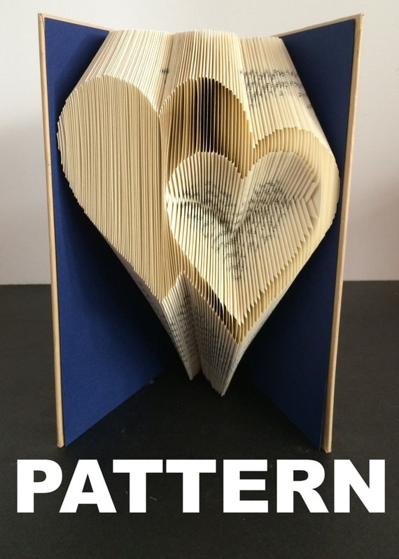 Book folding pattern double heart s free instructions with pictures