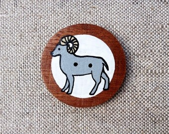 Aries Zodiac Sign Hand Painted Wooden Button with Zodiac Symbol Aries, Astrology Art Aries Picture, Aries Painting