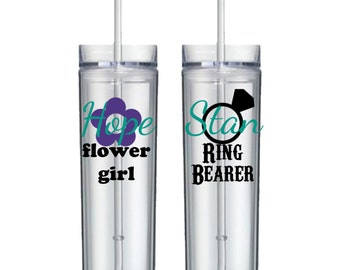 Set of 2 - Personalized Skinny Acrylic Tumbers - Flower Girl Cup - Ring Bearer Cup - Bridal party gift - Wedding glassware - Wedding cups