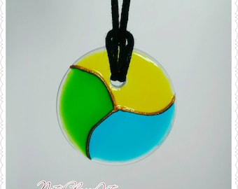 Hand painted glass pendant necklace