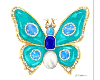 Butterfly Brooch Watercolor Rendering in Yellow Gold with Turquoise, Blue Topaz, Diamonds, Sapphire and Pearl printed on Canvas