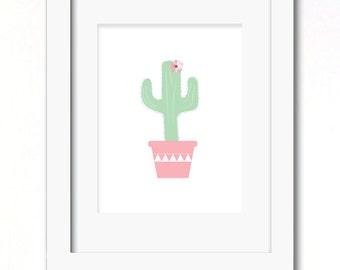A4 pink cactus print