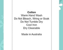 """Cotton - Warm Hand Wash / Cool Iron   Soft satin ribbon content care clothing and sewing labels handmade garments  """"Made in Australia"""""""