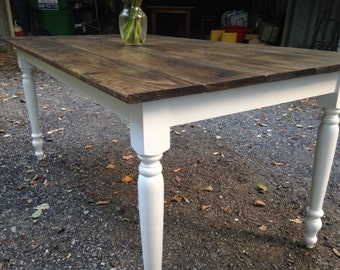 "Dark Walnut Modern Farm Table with 2.75"" Legs"