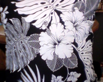 Black And White Hibiscus Cushion With Monstera And Palm Leaves