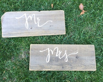 Mr & Mrs Rustic Wooden Signs