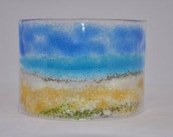 Handmade Fused Glass Art - Beach Curve (Small)