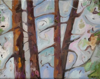 Nature and Woods B036 or Windy Forest oil painting  contemporary art nature in the wind oil on canvas oil painting colorful woods autumn