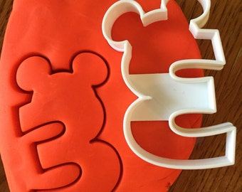 Number Three with Mickey Mouse Ears cookie and fondant cutter