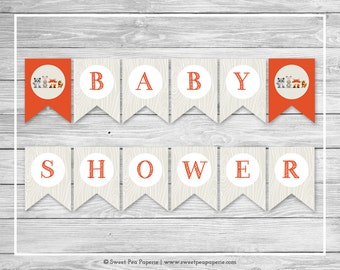 Woodland Animals Baby Shower Banner - Printable Baby Shower Banner - Woodland Animals Baby Shower - Baby Shower Banner - EDITABLE - SP105