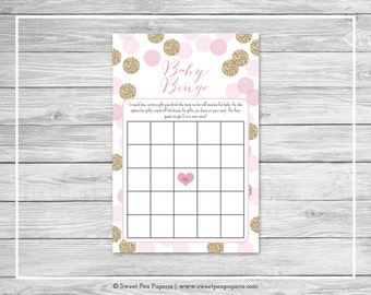 Pink and Gold Baby Shower Baby Bingo Game - Printable Baby Shower Baby Bingo Game - Pink and Glitter Baby Shower - Baby Bingo Game - SP106