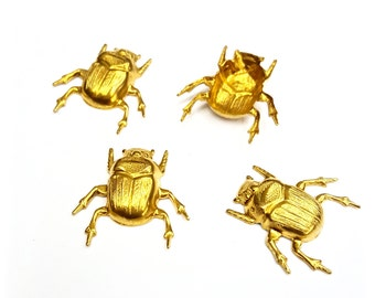 5 Pieces Scarab Beetle Findings, Stamped Raw Brass, Hollow Back, Vintage, 23x24mm