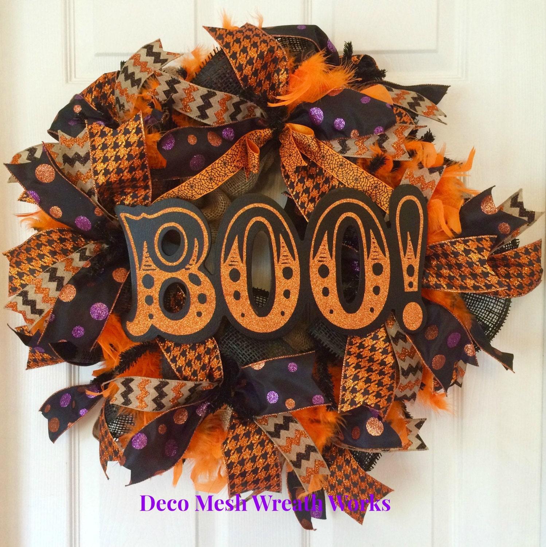 Halloween Wreath Halloween Wreaths Boo Wreath Burlap