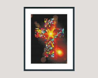 Cross stitch pattern, modern cross stitch pattern, colourful mosaic cross, holy cross stitch pattern, instant download