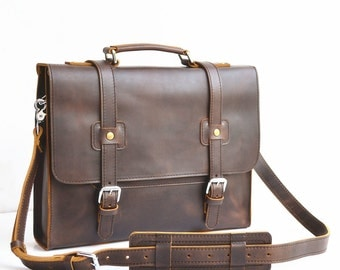 Simple Mens Leather Briefcase Men Leather Briefcase Messenger Bag Mens Leather Satchel Men Mens Leather Bag Men Handmade For Women