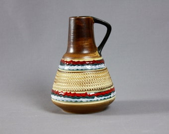 Vintage Duemler Breiden Sgraffito Pitcher Handled Vase West German Pottey WGP - 310-15 1960s Vase