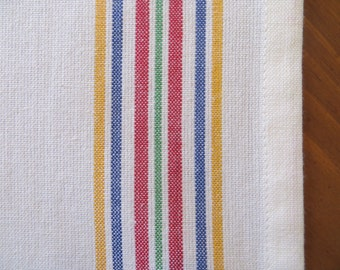 Sweet Multi-Colored Striped White Cotton Toweling Table Runner