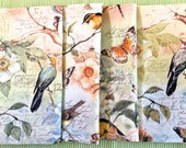 Spring Napkins, Set of 4, Dinner/Luncheon, Orioles, Butterflies & Dragonflies, Magnolias, Sage-Green, Grey-Blue, Soft Coral Cotton.