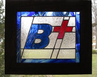 """B+ """"BE POSITIVE"""" ! A Beautiful New Stained Glass Work 15"""" X 17 1/2"""" Mahogany Frame, Hanging Hardware Included, U.S. ARTIST U.S. Made 2014"""