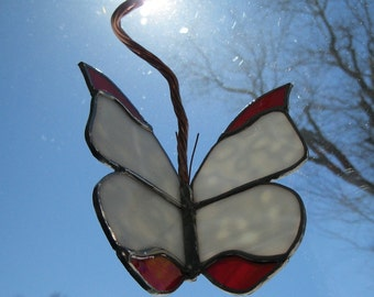 """A Beautiful New Stained Glass Work """"White & Red Butterfly"""" 3D, Mobile,  Ring Mottled White /Red Glass, 9.5""""x5"""", U.S. ARTIST, U.S. MADE, 2015"""