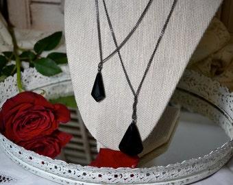 Vintage Kenneth Cole Double Pendant Black Gem Necklace