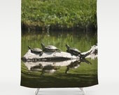 Turtle Shower Curtain, Animal Shower Curtain, Water Shower Curtain, Green Shower Curtain, Nature Shower Curtain, Bathroom Decor, Turtle Art