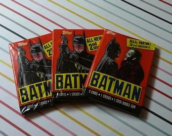 Vintage Lot of 3 1989 Batman Wax Packs - Old Store Stock