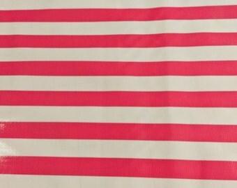 Oil Cloth White w/ Pink Stripes