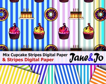 Cupcake Donut Stripes Digital Paper,Birthday Party Bright Colors Sweets Scrapbook papers,Rainbow Candy Neon Background,Food Desserts Pattern