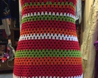 1970' multi-color, bohemian style, crochet mini dress. Size S.