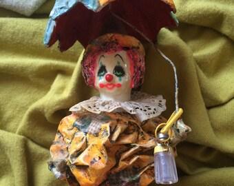 Handmade vintage clown with umbrella, unique clown artwork