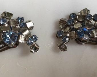 Vintage Leru silver tone blue rhinestone earrings