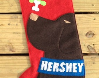 Chocolate Lab Dog Christmas Stocking PERSONALIZED FREE