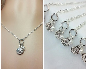 Silver Shell Charm Beach Necklace, Beach Wedding Pearl Necklace, Clam Shell Nautical Sea Theme Jewelry.